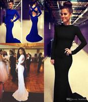 Дешевые выполненные на заказ сексуальные спандекс Royal Blue Mermaid одевает 2016 с длинным рукавом Экипаж шеи Criss Cross Открыть Назад Официальные вечерние платья BO5960