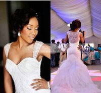 New Style Plus Size White Ivory Heavy Beads Mermaid Wedding ...