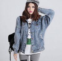 2016 Mulheres denim casaco jaqueta Primavera Outono coreano Moda Casual Denim Patchwork Overcoats bolso do vintage soltas Jeans Casaco, D0421