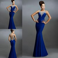 Royal Blue Mermaid Wedding Evening Dresses For Arabic Women ...