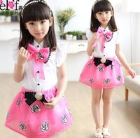 For Big Children Girls Clothes 2015 Summer Girl Bow Rose Flo...