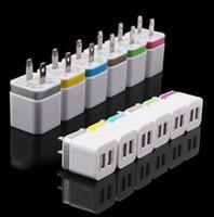 Небольшой куб с двойными стенками, зарядное устройство полного 2.1 1А зарядное устройство США ЕС штекер адаптера питания 2-порт красочные стены зарядное устройство
