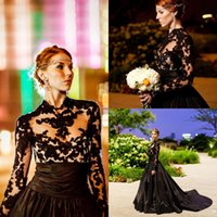 New Vintage Gothic Style Black Lace A Line Evening Dresses 2...