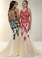 Dignifine 2015 Red Black Nude Allover Lace Appliques Beaded ...