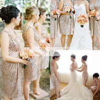 Bling Rose Gold Cheap 2016 Bridesmaid Dresses Hot Sale Fashi...