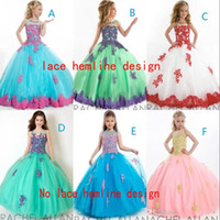 2015 New Design Ball Gown Girls Pageant Dresses With Lace Ap...
