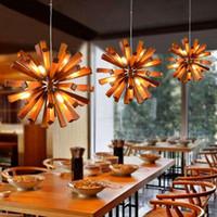 Fashion Modern Pendant Light European Simple Wood Cone Shape...