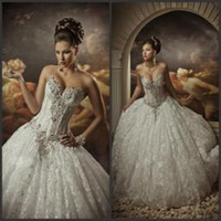Ball Gown Wedding Dresses with Rhinestones Sweetheart Corset...