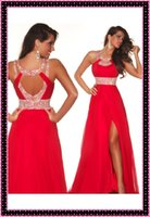 2014 Red Chiffon A- line Party Dresses with Sequins Backless ...