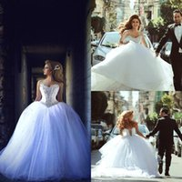 2015 White Crystal A Line Wedding Dresses Sexy Bling Sweethe...