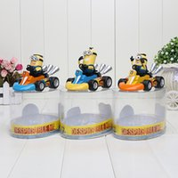 8*12cm 3pcs set Despicable me 3 Minions karting cars PVC Act...