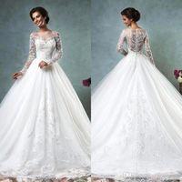 2016 Amelia Sposa Arabic Long Sleeves Wedding Dresses Sheer ...