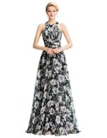 Grace Karin Flower Pattern Halter Backless Chiffon Long Ball...