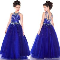 2015 Royal Blue Girl Pageant Dresses With Halter Neck Crysta...