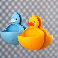Kawaii Solid Color Duck Plastic Soap Box Bathroom Sucker Mul...