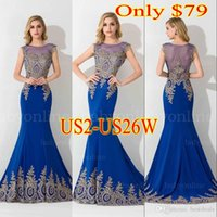 Royal Blue Black Lace Applique Mermaid Prom Dresses 2015 Hot...