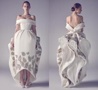 Новый дизайнер Аши Студия Emboridery Пром платья с плеча 2015 платье партии атласные цветочным узором на заказ платье лук Назад Zipper