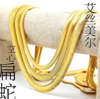 High quality 24K Gold plated Necklace W6~10mm L76cm Link Hip...