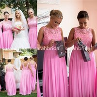 Pink Chiffon Lace Bridesmaid Dresses Cheap Under 100$ For Ma...