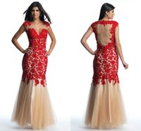 Red Lace and Champagne Tulle Sexy Mermaid Prom Pageant Dress...