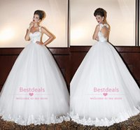 2014 White Lace Ball Gown Wedding Dresses 2015 Spaghetti Swe...