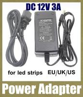 ac 100v-240v dc 12v 3a chargeur adaptateur d'alimentation adaptateur ca / cc pour éclairage led bande en aluminium conduit eu au Royaume-Uni nous brancher l'adaptateur DY003