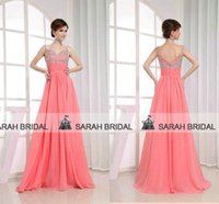 Best Selling Spaghetti Straps Coral Prom Dresses For Young G...