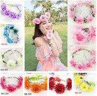 Bohemia Style Girl 5 Flowers Headwear + 2 Floral Bracelet Se...