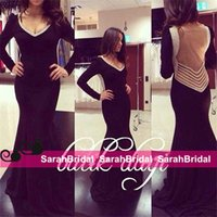 Sexy Black Wedding Evening Dresses Long Sleeve Formal Prom G...