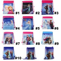 10 styles frozen movie drawstring bags Anna Elsa backpacks h...