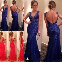 Women Evening Party Dresses 2015 Custom Made Cheap Sheer Cre...