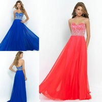 2015 Iridescent Bling Bling Coral Chiffon Crystals Beaded Pr...