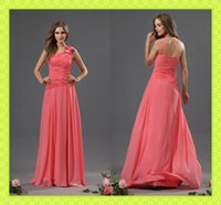 2015 Cheap Coral Chiffon Bridesmaid Dresses High Quality Cus...