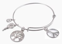 1PCS Fashion Silver Tone Peace Logo Expandable Wire Bangle B...