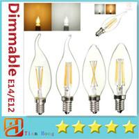 Dimmable LED Candle Lamp C35 C35T COB filament bulb chandeli...