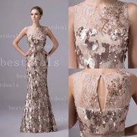 2015 Vestidos De Fiesta Evening Dresses Jewel Neck Lace Sequ...