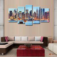 5 Pieces Холст Картина Идеи City Night Art Pictures Пейзаж Нью-Йорк Картина маслом Печать на холсте Картины Современный домашний декор