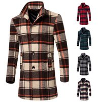 2015 autumn men wool trench coat slim fit long coats plaid t...