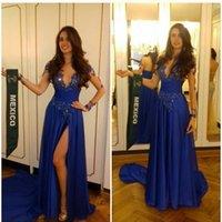 2016 Арабский Royal Blue Щели Robe De Soiree Sexy Иллюзия Длинные рукава Сплит вечерние платья Кружевные Sequined Выпускные платья для партии Wear