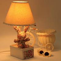 Floral fabric pastoral style cartoon rabbit lamp children&#0...