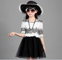 2015 Summer Big Girls Dresses Lace Splicing Tops Layered Gau...