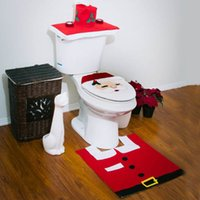 Toilet Seat Cover & Rug Christmas Decorations Happy Santa Ba...