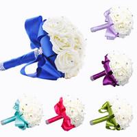 2015 новый свадебный букет Свадебные украшения искусственных невесты цветок Шелковый Кристалл Роза Королевская синий белый Зеленая Сирень Фуксия мята WF001