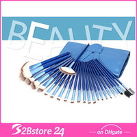 24Pcs Set Blue Make Up Cosmetic Brush Set Kit Makeup Brushes...