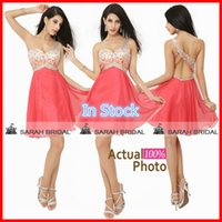 Short Coral Prom Dresses In Stock Cheap 2015 Sheer One Shoul...