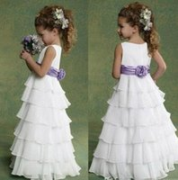 Ruffled Organza Flower Girl Dress With Jewel Neck 2016 Floor...