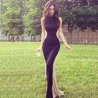 NEW 2014 Elegant dress long party black and Ivory patchwork ...