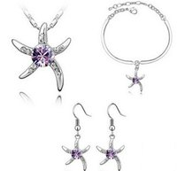 Newest S925 Sterling Silver Plated Jewelry Sets Star Crystal...