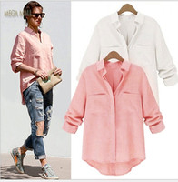Blusas Femininas 2016 queda-de-rosa branco Casual camisa de manga longa Mulheres Blusas de linho Irregular Hem Ladies Tops chemisier Femme ZDD