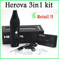 Vente au détail !! New Herova 3 en 1 Vaporisateur E Kit céramique Kit Dry Herb vaporisateurs Ou Wax Disponible Kit Wax Vaporisateur Pen Livraison gratuite